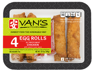 Vans Kitchen White Meat Chicken Egg Rolls, 13.75 oz